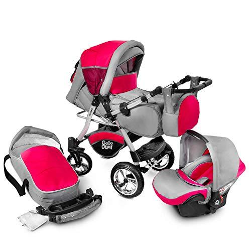 Buggie Urbano Red Zone | 3-in-1-System | Kinderwagen, Kombikinderwagen, Babyschale, Autositz System | Zwei-Wege-Griff | Travel System | Moderner, Leichter Trolley mit Allem Zubehör Inklusive