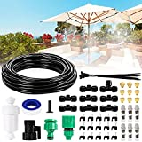 26.2FT Outdoor Mist Cooling System Fan Misting Kit Irrigation Animal Plants Swimming Pool Cooler with 1/4inch Tube Hose Pipe 7 Brass Metal Nozzles Jets Misters for Patio Garden Home