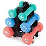 Crown Sporting Goods Set of 3 Pairs of Neoprene Body Sculpting Hand Weights with Stand (Shape)