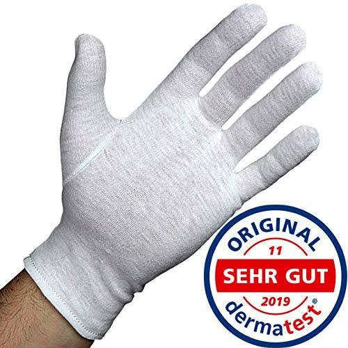 Dermatest: Sehr Gut - Lavamed® Baumwollhandschuhe - extra weiche Baumwoll-Handschuhe aus 100{fcae5bc92ff87e106f4bbeabfd06c40c0d291e92cba3a6d6302b376417485195} Baumwolle - Trikothandschuhe - weiße Zwirnhandschuhe - Premium Kosmetikhandschuhe (3 Paar, L)