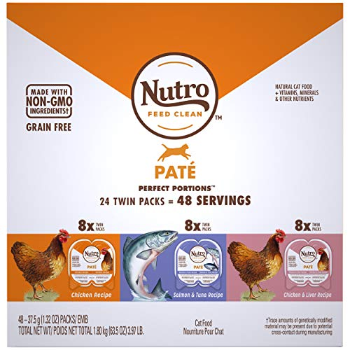 NUTRO PERFECT PORTIONS Grain Free Pate Adult Wet Cat Food Variety Pack: Chicken, Salmon & Tuna, Chicken & Liver —24, 2.64 oz. Twin-Pack Trays