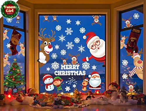 Yuson Girl Lote Pegatinas Navidad Ventana Reutilizable Reno