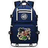 GOYING Dragon Ball Anime Cosplay Bookbag College Bag Mochila Mochila Escolar con Puerto de Carga USB-H