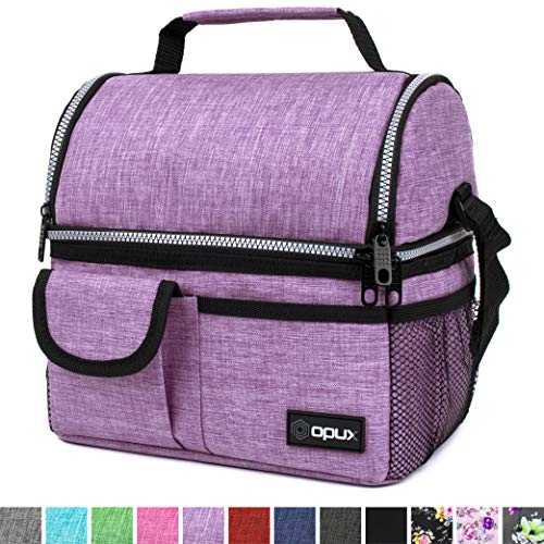 OPUX Insulated Dual Compartment Lunch Bag for Women | Double Deck Reusable Lunch Pail Cooler Bag with Shoulder Strap, Soft Leakproof Liner | Large Lunch Box Tote for Work, School (Purple)