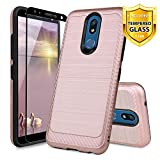 TJS Phone Case for LG K40/K12 Plus/X4/Solo LTE/Harmony 3/Xpression Plus 2, with [Full Coverage Tempered Glass Screen Protector] Hybrid Shockproof Metallic Brush Finish Hard Inner Layer (Rose Gold)