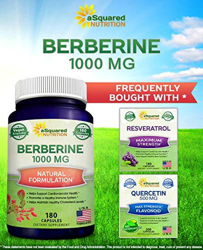Pure Berberine 1000mg Supplement - 180 Veggie Capsules, Natural Berberine Hydrochloride HCL Plus, Max Strength 1000 mg (2X 500mg), Potent Vegan Extract for Healthy Blood Sugar Levels & Blood Glucose 5