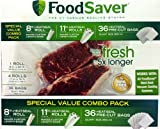 FoodSaver B005SIQKR6 Special Value Vacuum Seal Combo Pack 1-8' 4-11' Rolls 36 Pre-Cut Bags, 1Pack, Clear