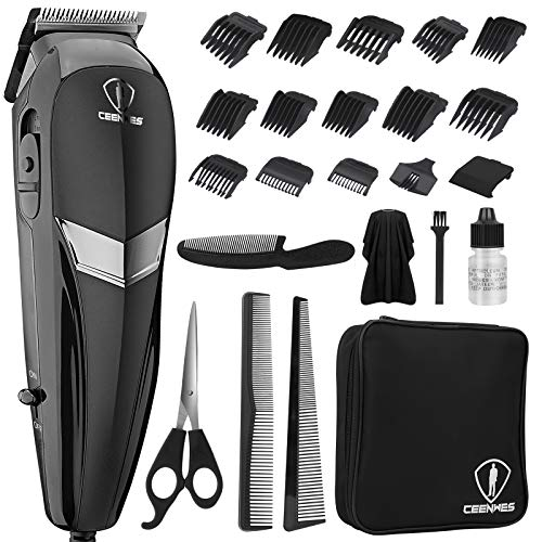 HairClippers&WiredclippersformenProfessionalAllinone24PiecesHairCuttingKitMultipleChoiceWiredHairTrimmerwith14pieceslimitcomb,1Scissors,1StorageBag,3Combs,1Cape