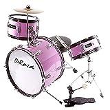 De Rosa DRM316-MPK Junior 3-Piece 16-Inch Drum Set with Chair, Pink