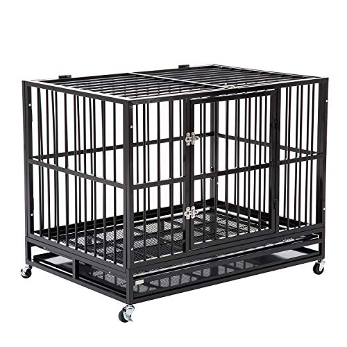 WALCUT 42'' Black Heavy Duty Dog Cage Strong Metal Crate Folding Kennel with Double Doors Playpen w/Wheels