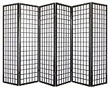 PEGANE Paravent Japonais Shoji en Bois Noir de 6 pans L264 x H175 x P2 cm