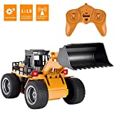 Remote Control Construction Truck Toy,RC Front Loader Truck Alloy Shovel 2.4Ghz RC Remote Control Bulldozer 6 Channel RC Construction Vehicles Toys for boy Kids Birthday