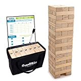 Giant Tumbling Timber Toy - Jumbo JR. Wooden Blocks Floor Game for Kids and Adults, 56 Pieces, Premium Pine Wood, Carry Bag - Grows from 2-feet to Over 4-feet While Playing, Life Size Yard Tower Game