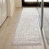 Ophanie Modern Boho Chic Area Rug Carpet, Thick Runner Rugs for Kitchen, Hallway, Laundry Room, 2' x 8', Beige/Grey