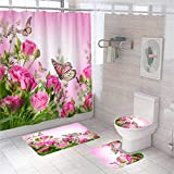 Pink Rose Shower Curtain Set Butterfly Shower Curtain Sets with Rugs Toilet Lid Cover Bath Mat Waterproof Floral Bathroom Decor Set with Hooks