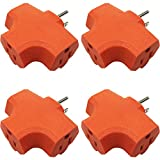 3 Plug Outlet Adapter (T-shaped), Three Plug Extender, Grounded Wall Adapter, Turn 1 to 3 Outlet, ETL Certified, Orange (4PACK)