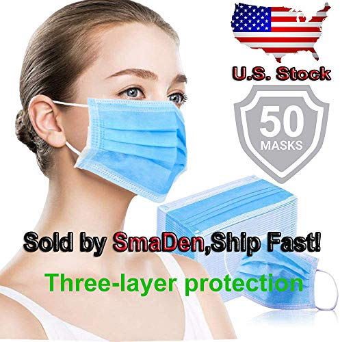 USA Shippng, 50 Pcs Disposàble Face Màsks | Anti Dust Mouth Màsks | Unisex Face Màsks | Fashion Màsks | Mouth Màsks Particulate Màsks for Cycling Camping Travel for Adults, Blue