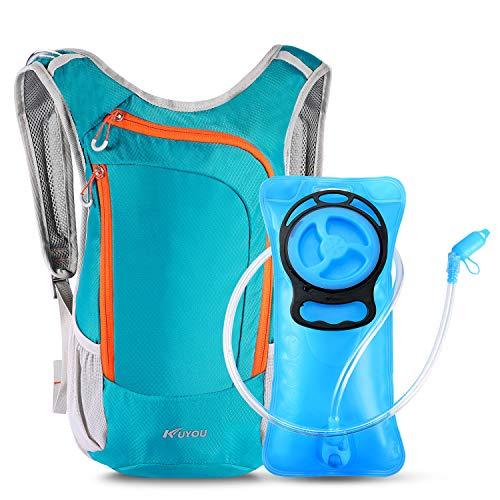 KUYOU Trinkrucksack, Trinkrucksack mit 2L Trinkblase Leichte Isolierung Trinkrucksack zum Laufen Wandern Reiten Camping Radfahren Klettern Passt Männer & Frauen (Blau)