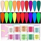 Saviland Acrylic Powder Set - Glow in The Dark Acrylic Nail Powder 10 Neon Colors Professional Polymer Powder for Acrylic Nails Extension DIY Nail Manicure