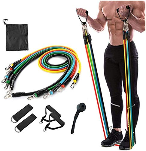 AEXiVE Resistance Bands Set for Exercise, Stretching, and Workout Toning Tube Kit with Foam Handles, Door Anchor, Ankle Strap, and Carrying Bag for Men, Women