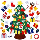 NEWBEA 3.2 Ft Felt Christmas Tree for Toddlers with 30 Detachable Christmas Ornaments, Xmas Gifts, Door Wall Hanging Decorations,Green