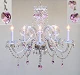 Chandelier Made with Swarovski Crystal! Chandelier Lighting with Crystal Pink Hearts H25' X W24' - Perfect for Kids' and Girls Bedrooms!