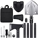 JOLLOK Survival Shovel Kit,High Carbon Steel Tactical Shovel Camping Shovel Hatchet Combo, 3 Thicken Extension Handles Survival Gear and Equipment for Outdoor, Hiking, Hunting, Emergency, Backpacking