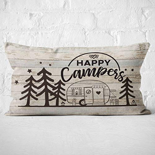 Mancheng-zi Happy Campers Throw Pillow Case, Campers Gifts, Gift...