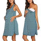 Ekouaer Camisón de maternidad sin mangas para mujer, camisón a rayas, vestido...