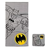 Franco Kids Bath and Beach Soft Cotton Terry Towel with Washcloth Set, 25' x 50', Batman