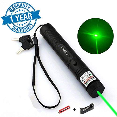 LESANLI Green Light Pointer High Power Visible Beam with Adjustable Focus for Pointing Sky/Star/Hunting/Hiking, LED Interactive Baton Funny Toy for Dog/Cat