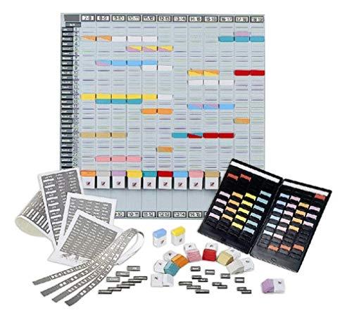 ACCO NOBO T-Karten Jahresplaner, Plantafel mit 12 Metallschienen, Monatsplaner + Zubehör + tragbarer Planer