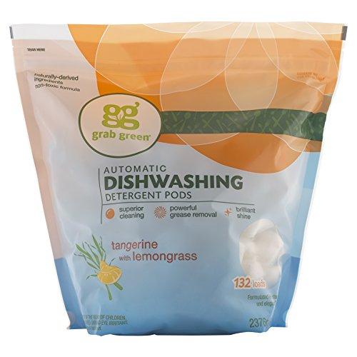 Grab Green Natural Dishwasher Detergent Pods, Tangerine + Lemongrass-With Essential...