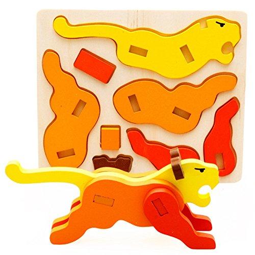 ✅3D Wooden Puzzle Kids Tigger Mini Jigsaw Cartoon Wood...
