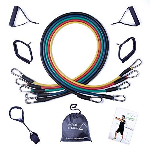 Ryher Set Elastici Fitness con Maniglie - 45KG - Bande Elastiche Resistenza Cavigliere con Esercizi...
