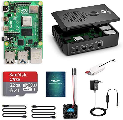 LABISTS Raspberry Pi 4 Model B Kit de 4 GB con SD de 32GB Clase 10, RPi Barebone con 3 Disipadores de Calor, 5V 3A Tipo C, Ventilador, Micro HDMI, Lector de Tarjetas y Caja Negra