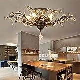 CROSSIO Vintage Crystal Chandelier Black Branches Elegant Flush Mount Ceiling Light Fixture for Bedroom Restaurant Living Room 4-Lights D26' x H11'