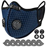 AstroAI Reusable Dust Mask with Filters - Adjustable for Woodworking, Construction, Outdoor (Blue, 1 Mask + 6 Extra Activated Carbon Filters Included)