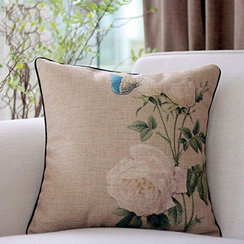 AIDELAI Triángulo Cojín- cojín país de América Almohada cojín del sofá Cubre Europa y la Almohadilla del algodón Rosas Blancas clásico Americano