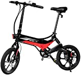Swagtron Swagcycle EB-7 Elite Folding Electric Bike, 16-Inch Wheels, Swappable Battery with Keylock & Rear Suspension (Black)
