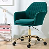 HOMHUM Modern Velvet Home Office Computer Desk Task Chair with Wheels, Mid-Back Adjustable Swivel with Arms Chair, Green Vanity Chair with Gold Metal Base