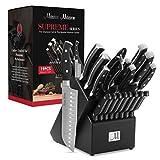19-Piece Premium Kitchen Knife Set With Wooden Block | Master Maison German Stainless Steel Cutlery With Knife Sharpener & 8 Steak Knives