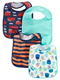 Simple Joys by Carter's Baby Boys' 4-Pack Feeder Bibs, Fire Trucks/Monsters/Stripe, One Size