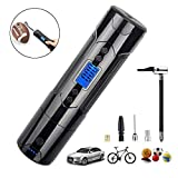 Portable Air Compressor Handheld Mini Bike Tire Pump Electric Tire Inflator for Car Tires Motorcycle Bicycle Bike Volleyball Basketball, with Digital Gauge LED Light LCD Display 1000mAh DC 12V