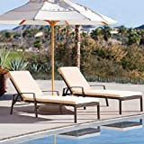 Pamapic Patio Lounge Chair Set 2 Pieces, Patio Chaise Lounges with Thickened Cushion, PE Rattan Steel Frame Pool Lounge Chair Set for Patio Backyard Porch Garden Poolside (Beige)