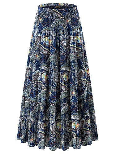 NASHALYLY Skirts for Women - Chiffon Floral Print High Waist Pleated A-Line Flared Maxi Skirts(13 XL