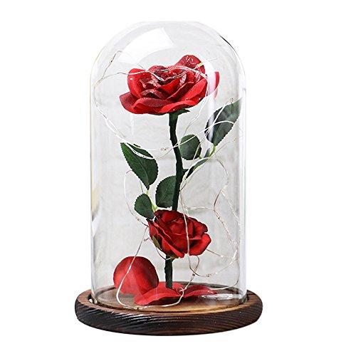 Italily Fiori Conservati Rosa Rossa Di Seta In Cupola Di Vetro A Decor E Base Di Legno Di Seta Incantata Con Petali Festa Di Festa Anniversario Di Matrimonio San Valentino Gift