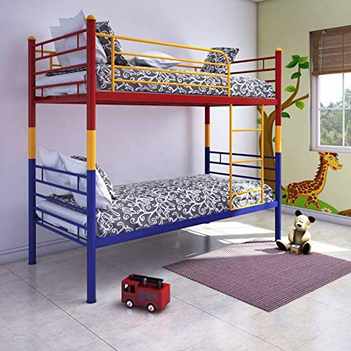 @home by Nilkamal Nemo Single Size Metal Bunk Bed (Glossy Finish, Multicolour)