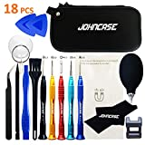 Johncase 18 Pcs Professional Precision Cell Phone Electronics Repair Tool Kit,Magnetic Screwdriver Driver Set W/Portable Case for Fix Mobile Devices,iPhone, iPad,Watch,Glasses,Tablet