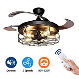 Vintage Ceiling Fan with Lights-DLLT 42 Inch Industrial Chandelier Fan with Remote, Retractable Blades Light Fixture for Kitchen, Dining Room, Bedroom, Living Room, E26 Bulb, Mate Black